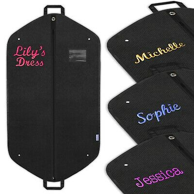 £15.99 • Buy Personalised Embroidered Dress Bag Garment Suit Clothes Cover Travel Carrier