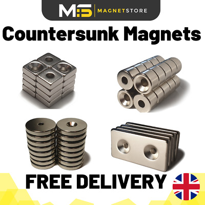 £5.99 • Buy Strong Neodymium Countersunk Magnets Big & Small Disc & Blocks From 4mm To 40mm