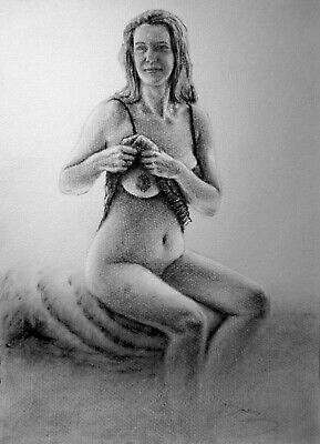 £38.94 • Buy Petra Undressing At Window, Draw On Charcoal, A3 Paper