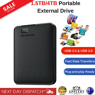 AU200.50 • Buy WD Elements 1.5TB 4TB External Hard Drive Portable USB 3.0 HDD Expansion Black