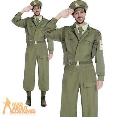 Adult 40s Home Guard Dads Army Costume WW2 Soldier Fancy Dress Uniform Outfit • 27.99£