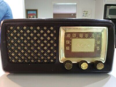 $ CDN88.80 • Buy Vtg Retro Space Age Bakelite Silvertone Model 2015 Gold Dial AM Radio Receiver