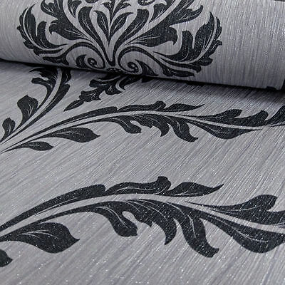 Wallpaper Debona- Luxury Glittered Elegant Crystal Damask - Silver & Black -9032 • 11.89£