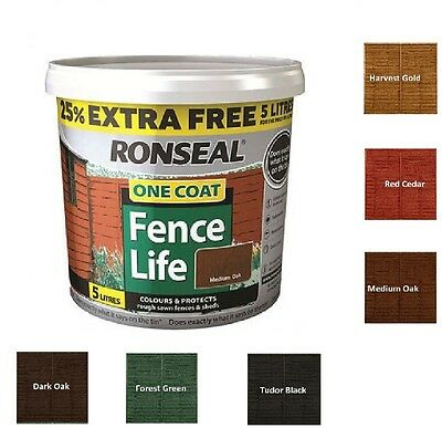 Ronseal 5L One Coat Life Quick Dry Garden Shed & Fence Paint All Colours!!!!!!!! • 11.95£