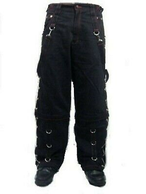 $76.45 • Buy Metal Eyelet Studded Chains Zips Red Stitching Baggy Skater Pants Trousers EMO
