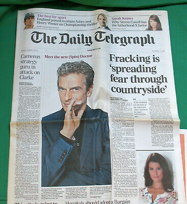 Daily Telegraph 050813: Announcing Peter Capaldi As Doctor Who. % To Charity Do. • 8.50£