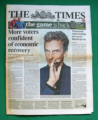 The Times 050813: Announcing Peter Capaldi As Doctor Who. % To Charity Do. • 8.50£