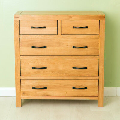 Abbey Waxed Oak Chest Of 5 Drawers 2 Over 3 Solid Wood Modern Bedroom Storage • 279.95£