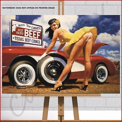 £27.95 • Buy Sexy Retro Pin Up Pin-Up Girl Red Classic Car Large Framed Canvas Print Picture