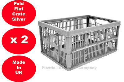 £10.99 • Buy 2 X 32 Litre Foldable Crate Plastic Storage Box Basket Crates Flat Good For Cars
