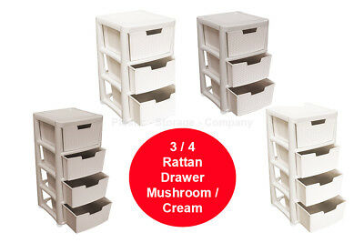 3/4 Tier Rattan Plastic Storage Drawer Organiser School Office Cream / Mushroom • 32.99£