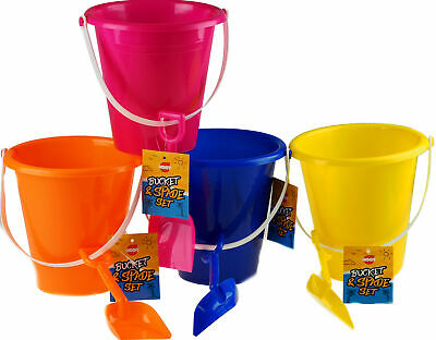 £11.99 • Buy Set Of 4 Bright Colour Large Bucket And Spade Beach Toys