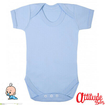 AU6.95 • Buy  Baby Boy Light Blue Baby Grows-Baby Blue-100 % Cotton Vest-Baby Boy Clothes