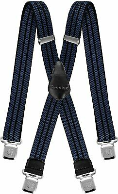 $17.95 • Buy Mens Suspenders Very Strong Clips Heavy Duty Braces Big And Tall X Style