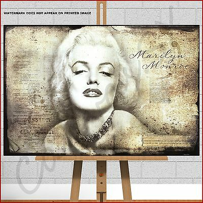 Marilyn Monroe Large Framed Box Canvas Print Picture Old Retro Writing Legend • 17.95£