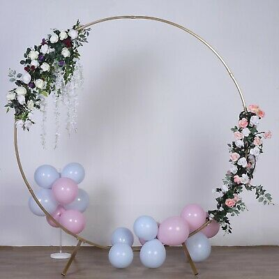 $98.56 • Buy GOLD 7.5 Ft Round Metal Wreath Arch Backdrop Stand Wedding Events Decorations