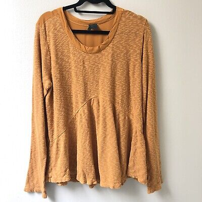 $ CDN36.68 • Buy Anthropologie Left Of Center XL Dara Pullover Top Gold Thermal Sweater Swing
