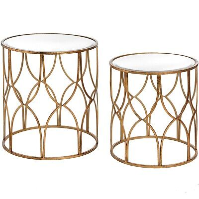 Set Of 2 Gold Side Tables Lattice Detail Food Drink Glass Nest Round Coffee End • 199.99£