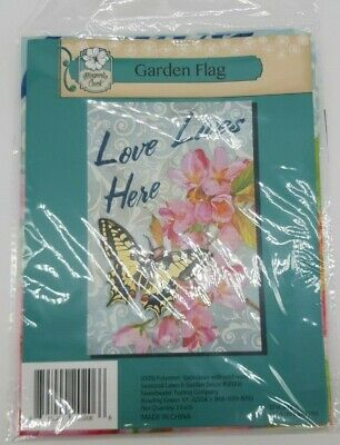 Magnolia Creek Garden Flag Love Lives Here Butterfly 12 In By 18 In Brand New • 6.72£
