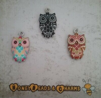 ❤ Shiny Enamel Owl Charms ❤ Pack Of 3 ❤ CRAFTING/JEWELLERY ❤  • 1.20£