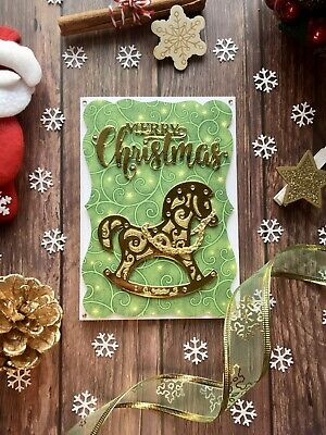 £2.50 • Buy Handmade Gold Rocking Horse Christmas Cards - A6 Size