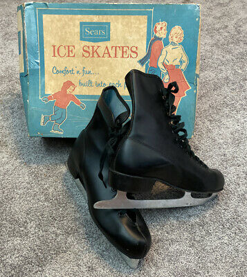 $49.99 • Buy Vintage 1950's Mens Black Figure Ice Skates In Box Size 9 Sears Roebuck And Co.