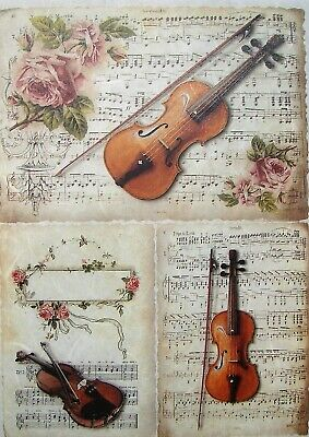 £1.89 • Buy Rice Paper For Decoupage Scrapbook Craft Violin Sheet Music 704