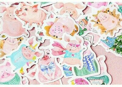 Pack Of 46 Various Pigs Stickers For Children's Crafts Cardmaking Scrapbooking • 3£