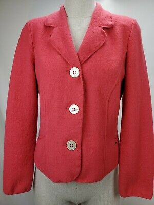 $36.79 • Buy Geiger Austria Womens Boiled Wool Button Cardigan Sweater Jacket Size 38 S Pink