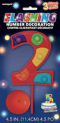 AU8.99 • Buy 2nd BIRTHDAY COLOURED FLASHING NUMBER 2 CAKE DECORATION SECOND PARTY SUPPLIES