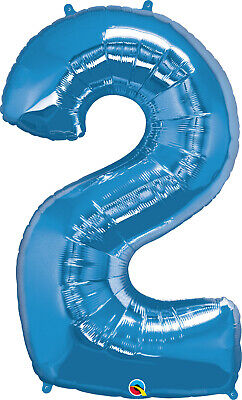 AU9.99 • Buy NUMBER 2 BALLOON BIRTHDAY 34  SAPPHIRE BLUE 2nd BIRTHDAY PARTY SUPPLIES