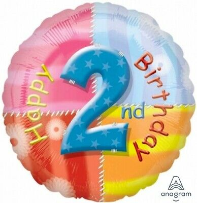 AU8.99 • Buy 2nd BIRTHDAY BALLOON 17  HAPPY BIRTHDAY AGE 2 PATTERNS ANAGRAM FOIL BALLOON