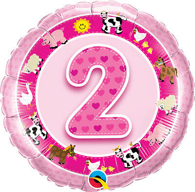 AU8.99 • Buy 2nd BIRTHDAY BALLOON 18  FARM ANIMALS NUMBER 2 PINK 2nd BIRTHDAY PARTY SUPPLIES