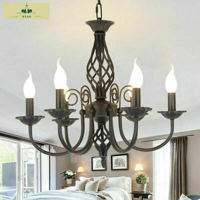 European Iron Candle Chandelier E14 Black White Platinum Forged Iron Chandelier • 119.99£