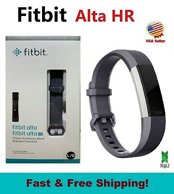 $ CDN96.55 • Buy Fitbit Alta HR Monitor B408SGYL Activity Tracker Graphite Blue Gray Silver Large