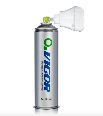 14L 99% O2 Oxygen Can With Inhaler Cap/Oxygen Therapy - UK Stock - EN Certified • 14.30£
