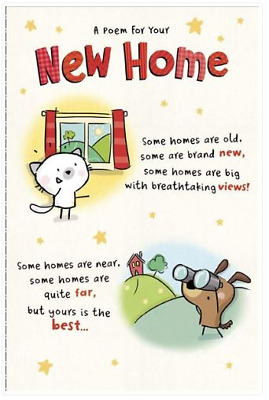 New Home Poem With Cat And Dog Card  • 3.30£