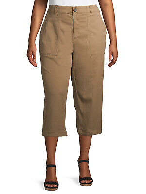 $ CDN19.70 • Buy New Womens Terra & Sky Utility Stretch Relaxed Fit Tan Brown Capris