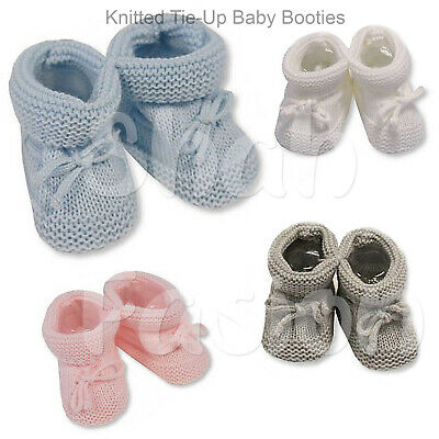 Baby Boys Girls Newborn Knitted Tie Up Booties Soft Shoes Blue Grey Pink Grey 35 • 3.49£