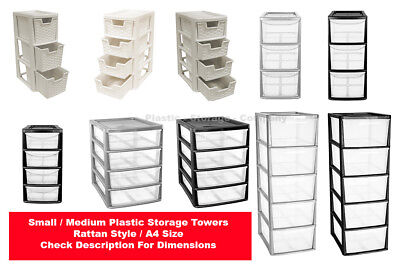 New Plastic Storage Towers - Rattan Style - A4 Size - Strong Towers - Free P&p - • 22.99£
