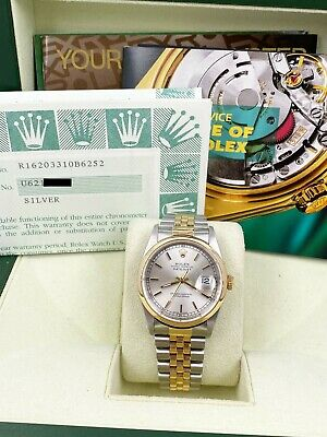 $ CDN8546.72 • Buy Rolex Datejust 16203 Silver Dial 18K Yellow Gold Stainless Steel Box Papers
