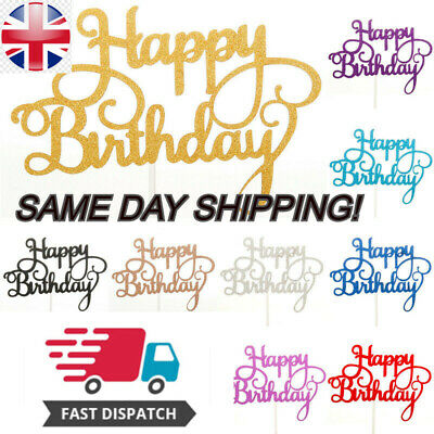 £2.29 • Buy Happy Birthday Cake Toppers Glitter Calligraphy Bling Sparkle Decoration Topper