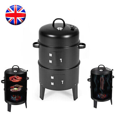 Round Fire Pit BBQ Grill Garden Heater Barbecue Smoker Cooking Outdoor Patio UK • 38.99£