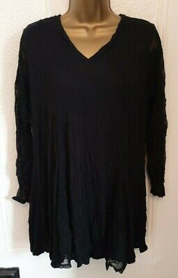 Yong Kim V Neck Crinkle Tunic With Mesh Sleeves - Black - Size 12  • 19.99£