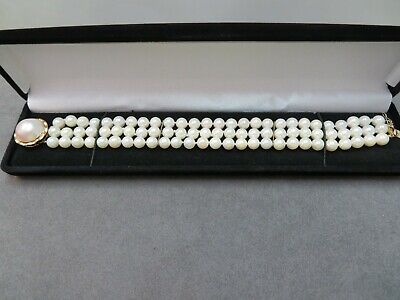 $475 • Buy Vtg Triple Stand Pearl Bracelet W/ 14K Yellow Gold Mabe Pearl Clasp / 7.75
