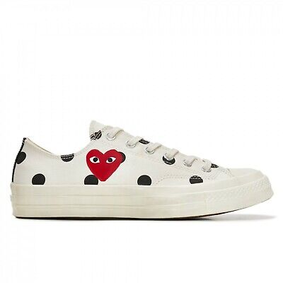£132.26 • Buy PLAY COMME DES GARCONS X CONVERSE 'polka Dot Red Heart Chuck Taylor All Star 7