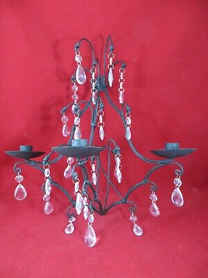 Wrought Iron Wall  Candle Holder Black  STUNNING- Hanging Crystals 16  Long  • 18.16£