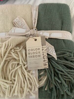 Ink+Ivy Stockholm Color Block Faux Cashmere Throw Green Beige 50x60 • 14.30£