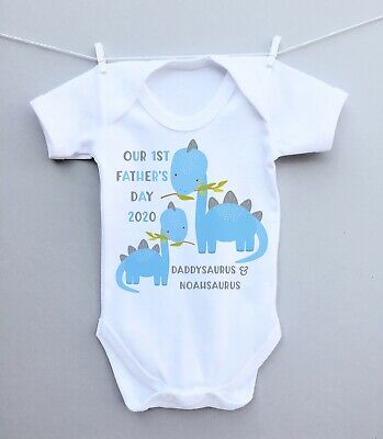 £6.99 • Buy Personalised Baby Bodysuit Vest Babygrow! Our 1st Father's Day Dinosaurs Cute