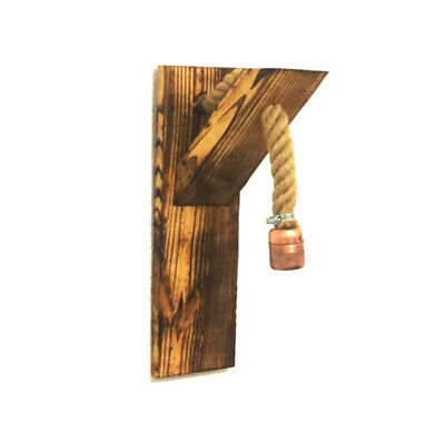 £14.99 • Buy Wooden Wall Lamp Sconce With Rope Handmade Rustic Vintage Retro Lighting